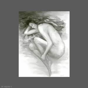 śniąca - rysunek tuszem 65x50cm, akt, ręcznie malowane, oryginał, grafika