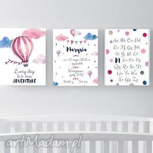 Zestaw 3 plakatów z metryczką / ADVENTURE A4, metryka, metryczka, narodziny, chrzest