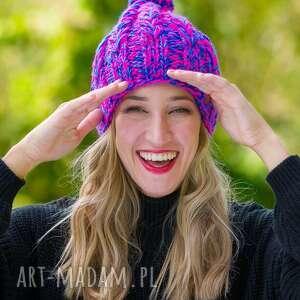 hand-made czapki smile blue stone