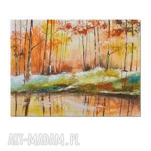 jesienna impresja, las, obraz ręcznie malowany