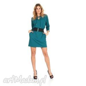 sukienki 46-sukienka sznurowany dekolt, szmaragd, rękaw 3/4,pasek