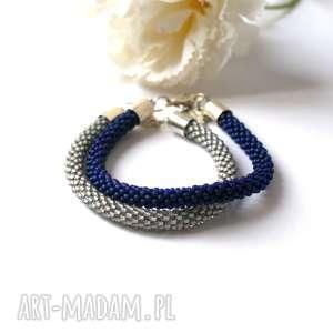 bransoletki navy blue - zestaw koralikowych bransoletek, bransoletki, bransoletka