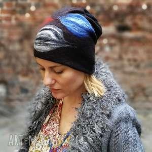 czapka handmade wełniana z kwiatem, wełna, kwiaty, etno, boho, folk, narty