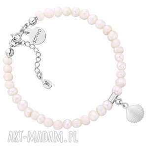 bransoletka z pereł naturalnych ze srebrną muszelką sotho