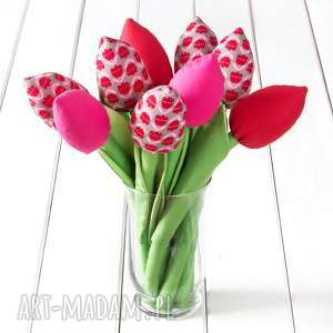 pomysł na upominek święta TULIPANY bawełniany bukiet w tulipany, kwiaty, tulipany