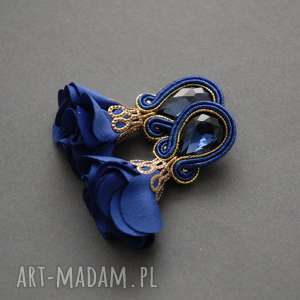 klipsy sutasz z kwiatkiem, sznurek, kobaltowe, wiszące, granatowe, eleganckie