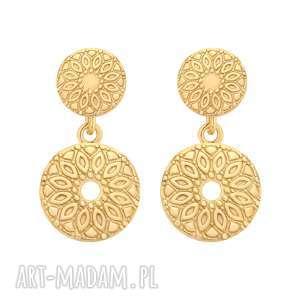 złote kolczyki z medalionami - pozłacane, medaliony
