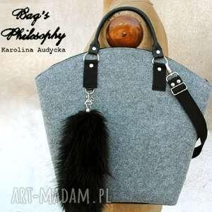 ręczne wykonanie torebki filcowa szara czarna torebka hobo i znów księżniczka anna