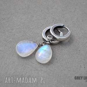 Kamień księżycowy kolczyki, kamień, księżycowy, srebro