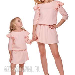 mama i córka sukienka odcinana w pasie dla córki ld8 3 - falbana, sukienka, mama