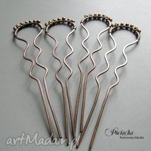 ozdoby do włosów retro - szpilki komplet 4 sztuk, szpilki, miedź