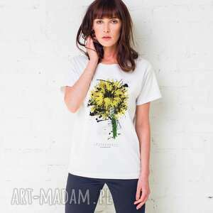 hand-made koszulki sunflower painted oversize t-shirt