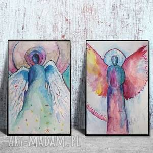 anioły - dwie akwarele formatu