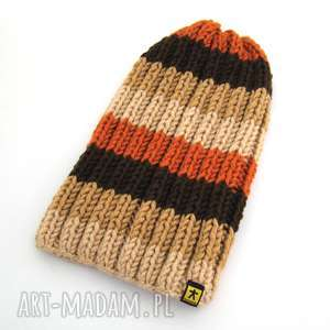 czapka w beżo-brązach - czapka, czapeczka, czapa, narciarska, zimowa, prezent