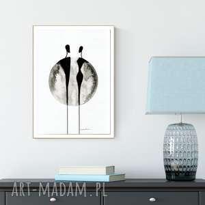 grafika 30x40 cm wykonana ręcznie, abstrakcja, elegancki minimalizm, obraz do salonu