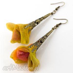 kolczyki ażurowe wiszące kolorowe, kolczyki, długie, lekkie, kwiaty, materiałowe