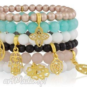 modowy zestaw sześciu bransoletek emirates treasures - perły