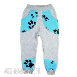 szare bawełniane spodnie, dresowe spodenki psie Łapy, rozm 62-116, sopdnie