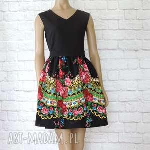 CLEO czarna sukienka góralska folkowa z tiulem, sukienka, folkowa, folk,
