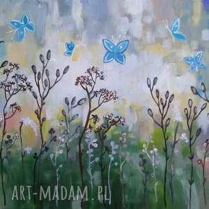 łąka z niebieskimi motylami -obraz akrylowy formatu 40/30 cm, obraz, akryl