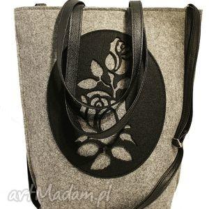 na ramię róża czarna czech draft, shopper, róża, ażurek, filc, filcowa