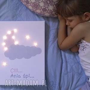 hand-made pokoik dziecka świecący księżyc gwiazda imię lampa obraz prezent personalizowany chrzest