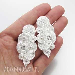 kolczyki ślubne soutache mirino crystal, sutasz, soutache, biel, stylowe, cyrkonia,