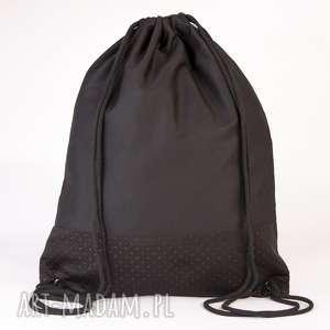 Czarny ze skórą, torba, worek, plecak, ekoskóra