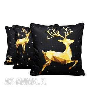 majunto komplet poduszek dekoracyjnych złoty jeleń 50x50cm