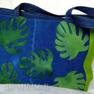 Torba z Jeansu Ozdobiona Ręcznie Malowanymi Liśćmi, torba, jeans, denim, bawełna