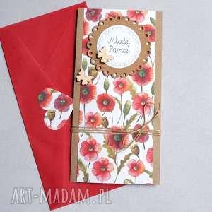ręcznie robione kartki kartka ślubna: kwiaty polne:: slim ii:: maki