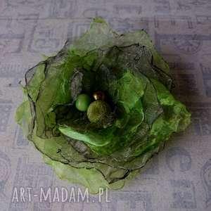 zielona - broszka, brocha, organza, ozdoba, wiosenna, przypinka