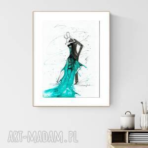 grafika 30x40 cm wykonana ręcznie, turkus, tango, obraz-do-salonu, tango