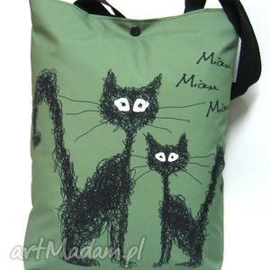 Torba na napę z kotami - koty, kot, torba, pojemna