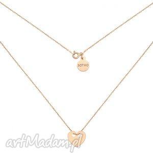 ręcznie robione naszyjniki naszyjnik z różowego złota z pełnym serduszkiem