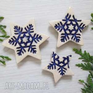 zestaw 3 gwiazdek magneów, świąteczne, ozdoby, dekoracje magnesy