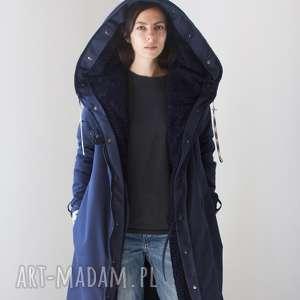 hand-made kurtka zimowa granatowa czarna podpinka