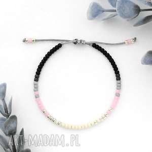ręcznie zrobione bransoletka minimal - autumn pink