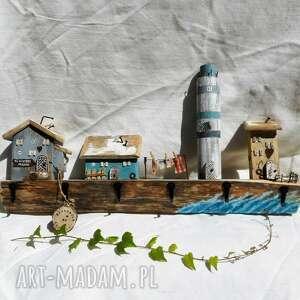 pracownia na deskach rustykalny wieszak no 1 - rybacka wioska z latarnią, dom