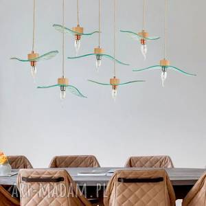 unikalny, lampa loft lecące, szkło, glass, lampa, oświetlenie, decor, wnętrze