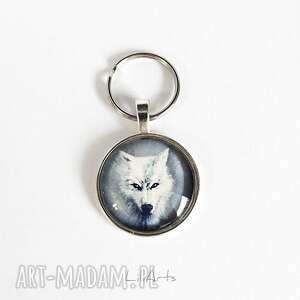 breloki breloczek - biały wilk, brelok, klucze, zawieszka, szklany