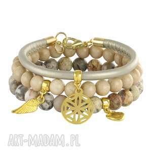 grey,gold beige 3, jadeit, jaspis, rzemień bransoletki biżuteria
