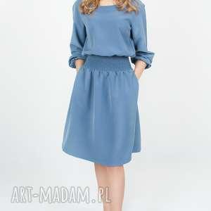 handmade sukienki bien fashion niebieska rozkloszowana sukienka midi z kieszeniami xl