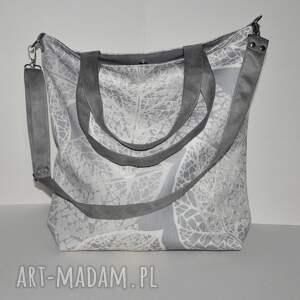 na ramię torba - worek xxl print szare liście, worek, print, torebka