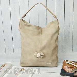 Prezent MANZANA duży worek z kokardą muflon CAPPUCCINO, torebka, damska, torba,