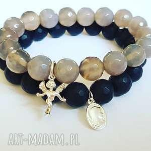 świąteczne prezenty Komplet bransoletek medalik i aniołek, matka, boska, anioł