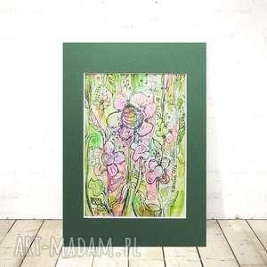 kolorowy rysunek łąka, nowoczesny rysunek, ogród obrazek, pokoju