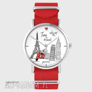 hand-made zegarki zegarek, bransoletka - time to travel czerwony, nato