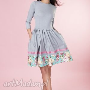 Rozkloszowana sukienka kwiaty Provance, sukienka, rozkloszowana, kwiaty, elegancka