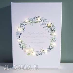 obraz led, wianek, róże, personalizowany prezent, ślub, rocznica, dla niej